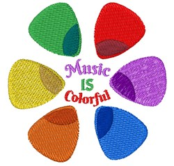 Guitar Pick Music Is Colorful embroidery design