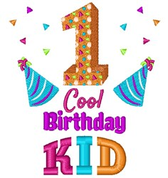 One Cool Birthday Kid embroidery design