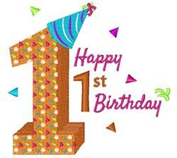 One Happy 1st Birthday embroidery design