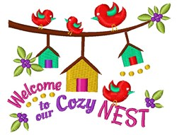 Bird Houses Welcome To Our Cozy Nest embroidery design