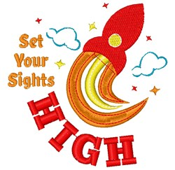 Rocket Set Your Sights High embroidery design