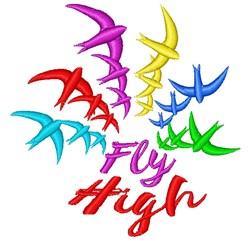 Bird Rainbow Fly High embroidery design