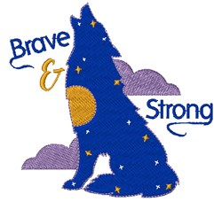 Wolf Brave & Strong embroidery design