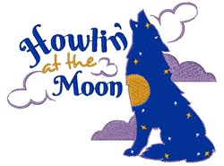 Wolf Howlon At The Moon embroidery design