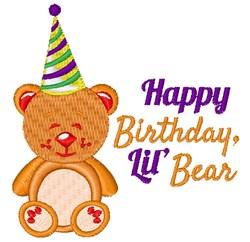 Happy Birthday Lil Bear embroidery design