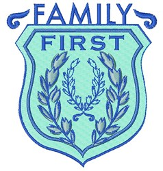 Blue Crest Family First embroidery design