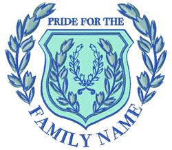 Blue Crest Pride For The Family Name embroidery design