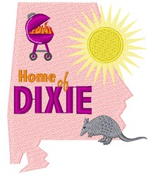 Alabama Home Of Dixie embroidery design