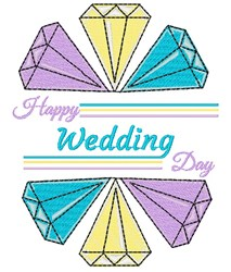 Diamonds Happy Wedding Day embroidery design