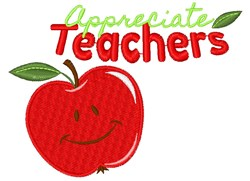 Apple Appreciate Teachers embroidery design