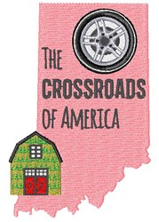 Indiana The Crossroads Of America embroidery design