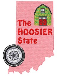 Indiana The Hoosier State embroidery design