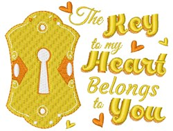 Key Hole The Key To My Heart Belongs To You embroidery design