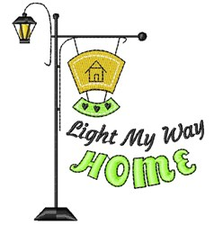 Lamp Post Light My Way Home embroidery design