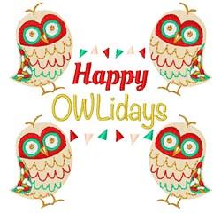Owl Happy Owlidays embroidery design