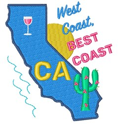California West Coast Best Coast embroidery design