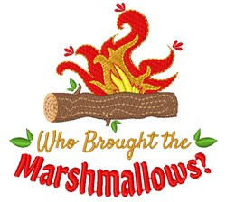 Campfire Who Brought The Marshmallows embroidery design