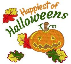Fall Pumpkin Happiest Of Halloweens embroidery design