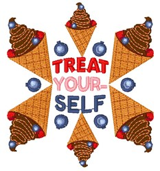 Frozen Yogurt Treat Yourself embroidery design