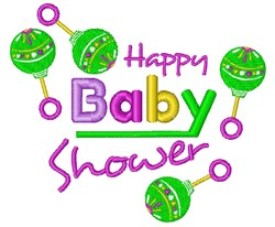 Happy Baby Shower embroidery design