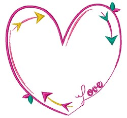 Line Heart embroidery design