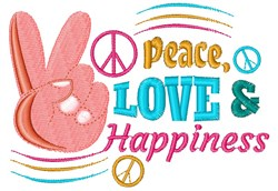 Peace Love & Happiness embroidery design