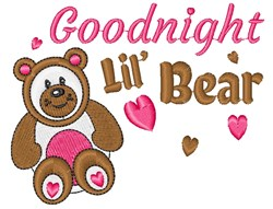 Goodnight Lil Bear embroidery design