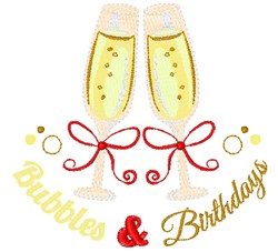 Champagne Bubbles And Birthdays embroidery design