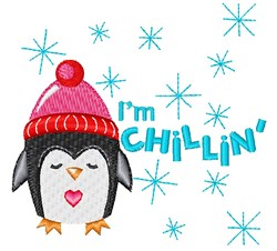 Penguin I m Chillin embroidery design