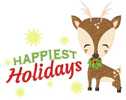 Deer Happiest Holidays embroidery design