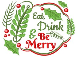 Eat Drink & Be Merry embroidery design