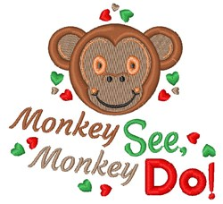 Monkey See Monkey Do embroidery design