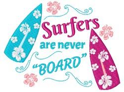 Surfers Never Board embroidery design