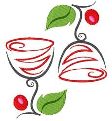 Artistic Wine Glasses embroidery design
