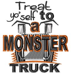 Halloween Monster Truck embroidery design