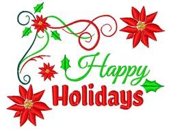 Poinsettia Border Happy Holidays embroidery design