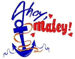 Ahoy Matey embroidery design