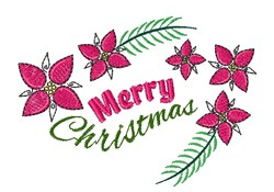Merry Christmas Flowers embroidery design