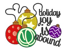 Ornaments Holiday Joy Is Abound embroidery design
