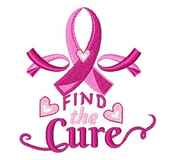 Pink Ribbon Find The Cure embroidery design