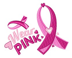 Pink Ribbon Wear Pink embroidery design
