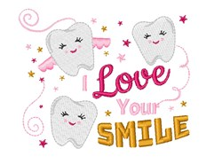 Tooth Fairy I Love Your Smile embroidery design