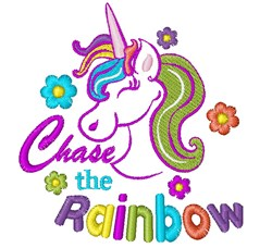 Unicorn Chase The Rainbow embroidery design