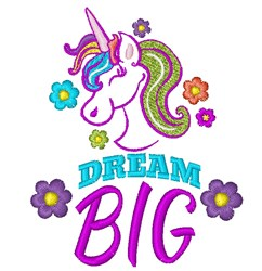 Unicorn Dream Big embroidery design
