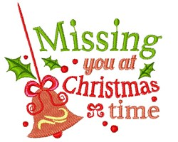 Bell Ornament Missing You At Christmastime embroidery design