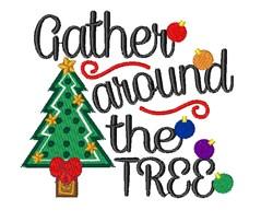 Christmas Tree Gather Around The Tree embroidery design