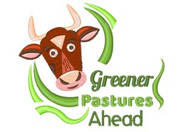 Cow Greener Pastures Ahead embroidery design