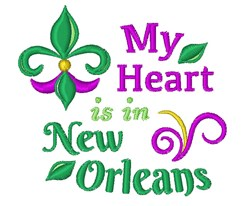 Heart Is In New Orleans embroidery design
