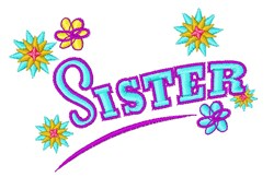 Sister embroidery design