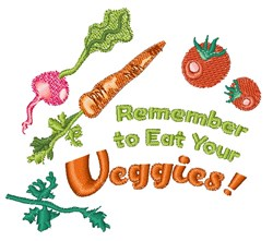 Eat Your Veggies embroidery design